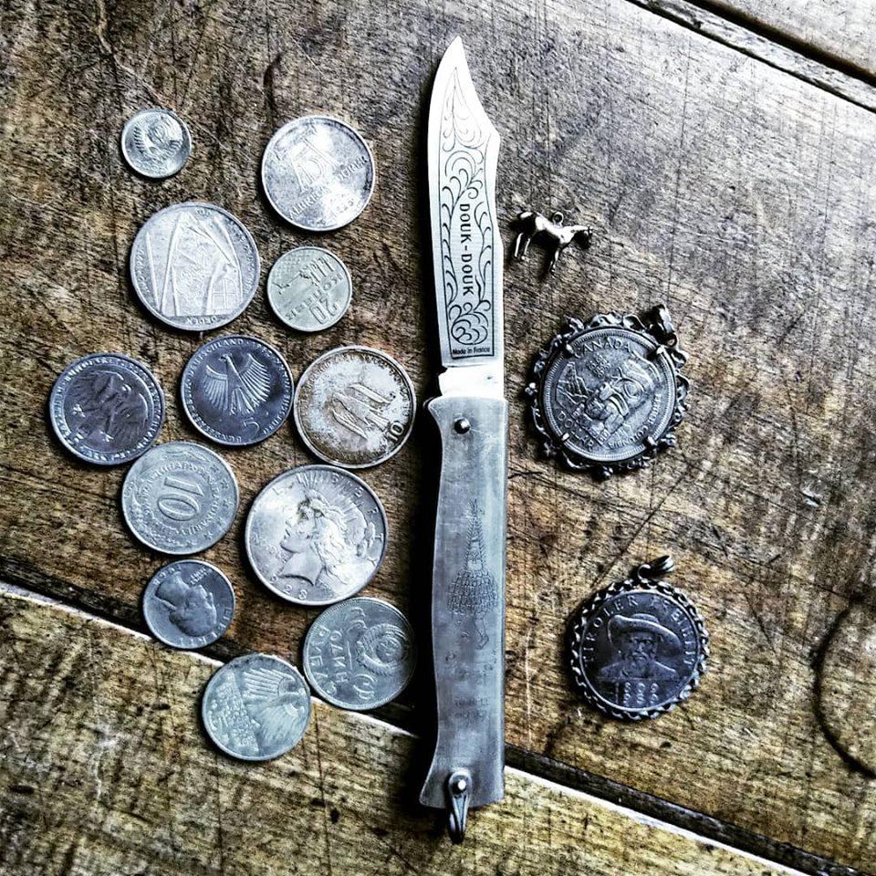 11cm brünierter Griff Karbonstahl-Klinge Douk Douk Taschenmesser Tadition