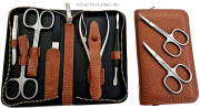 DOVO Nail case with zipper 6 pieces in color brown