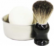 3 pieces Shaving Bowl stainless steel satin finished shaving brush and 2 Golddachs Shaving Soaps Set