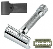 37 C Merkur with leather case and Razor Blade diagonal cut 37 C Merkur Solingen Top Offer