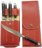 6 Steak knives Eichenlaub Solingen incl. a leather case